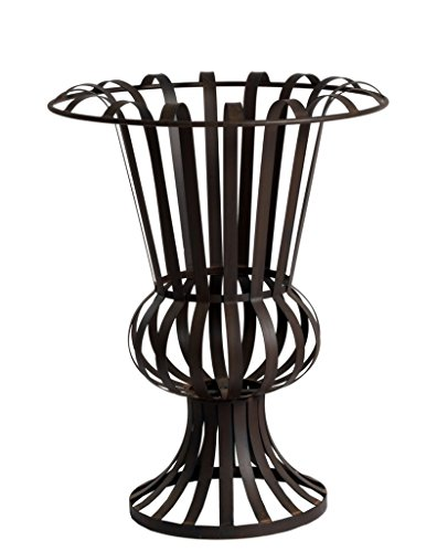 Amphore Metall Schwarz H 65 cm D 50 cm Blumenständer Groß | Antike Mediterran Maritim | Landhaus Garten Veranda Terrasse