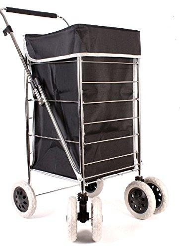 Alexander Graham Exklusiver, hochwertiger 6-Trolley mit Drehgelenk Einkaufstrolley Einkaufsroller Verstellbarer Tragegriff-große Shopper, aber Leicht zu verwenden; toll für Mobilität.Schwarz