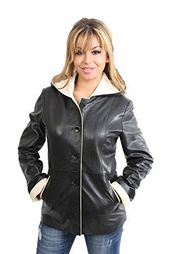 Damen Echtes Leder Kapuzenjacke Klassische Hüfte Länge Jacke Semi Fitted Carolina Schwarz (M (38)) (Jacke Semi Fitted)