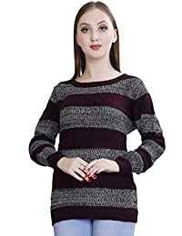 5227426fd78 OLETA- Women s Acrylic Striped Sweater Pullover with Round Neck