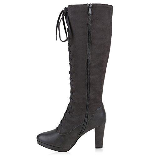 Stiefelparadies Damen Schnürstiefel Plateau Retro Stiefel Leder-Optik Schleifen Schuhe Blockabsatz Plateauschuhe Plateaustiefel Flandell Grau