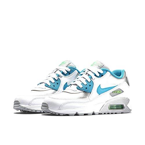 Nike  NIKE AIR MAX 90 LTR (GS), Sneakers basses femmes White/Blue Lagoon-Metallic Silver