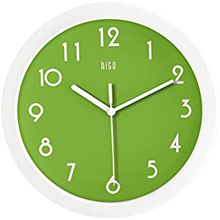 HITO™ Modern Colorful Silent Non-ticking Wall Clock- 10 Inches (Apple Green)