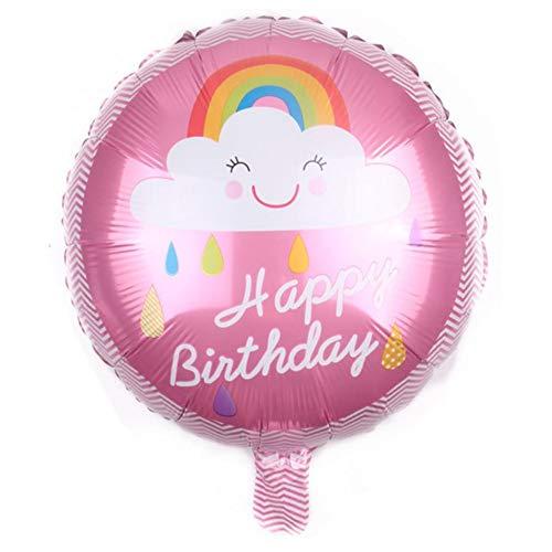DIWULI, Geburtstags Luftballon Happy Birthday, Folienluftballon, rosa Folien-Ballon für Geburtstag, Mädchen Kindergeburtstag Party, Dekoration (Ballon-befestigungen)