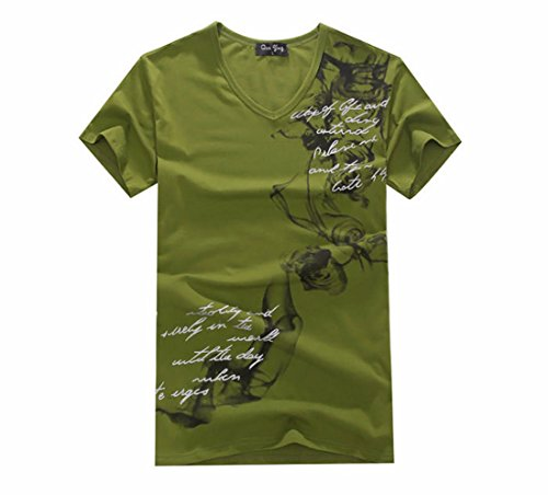 Men's Colorful Chinese Design Printed Cotton Short Sleeve Tee Shirt Army Green
