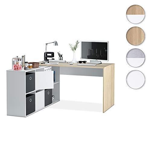 Habitdesign 0F4606A Mesa Escritorio, Mueble de despacho, Modelo Adapta, Blanco artik y Roble Canadian, 74 x 120 x 77 cm