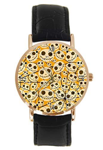 Halloween Spinnennetz-Armbanduhr Fashion Klassisch Unisex Analog Quarz Edelstahl Gehäuse Leder Armband ()
