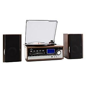 equipos: auna Deerwood Equipo estéreo con Tocadiscos • Minicadena • máx. 45 rpm • Altavoc...