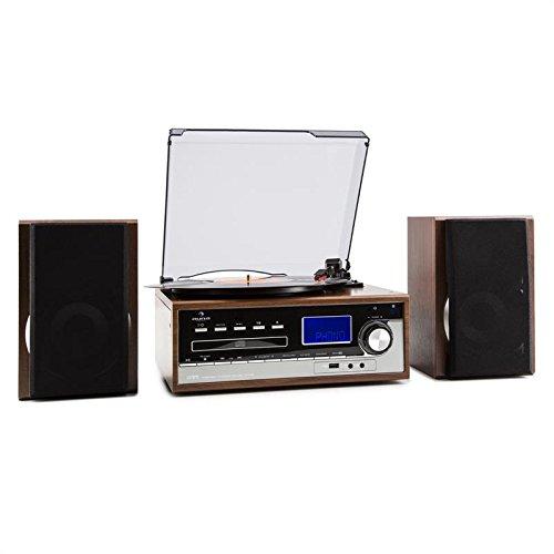 auna Deerwood • stéréo • platine tourne-disque • système multimédia • entraînement par courroie • max. 45 tours • 2 haut-parleurs • Bass reflex • Tuner radio • Réception FM • Port USB • marron