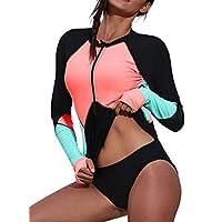 Womens Zip-up Sun Protective Shirt Long Sleeve Color Block Beach Swim Tops Black Medium 8 10