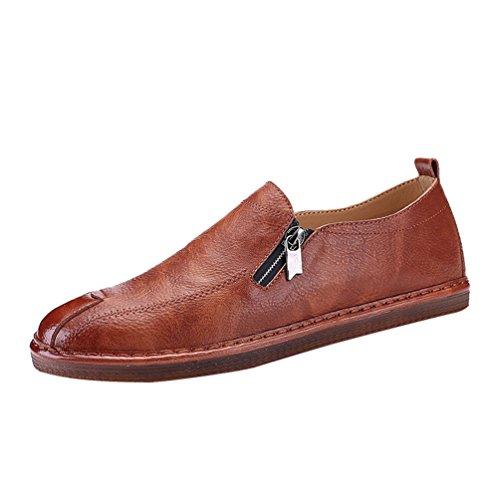 Anguang Mode Herren Arbeit Schuhe Slip On Loafers PU-Leder Fahrschuhe Mokassin mit Reißverschluss Braun