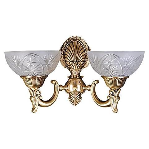 Classic wall light matt glass antique brass