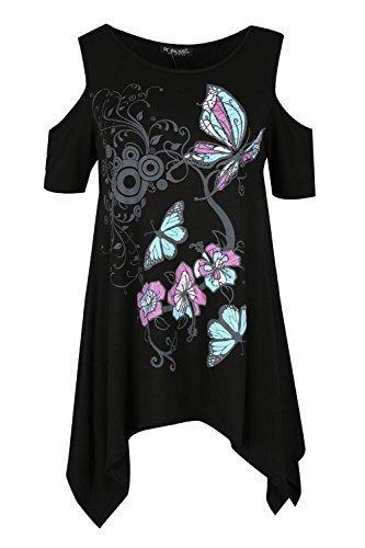 Be Jealous Damen Rundhals Schmetterling Aufdruck Wasserfall Zipfelsaum Kalte Schulter Swing Top Uk Größe 8-26 Schwarz