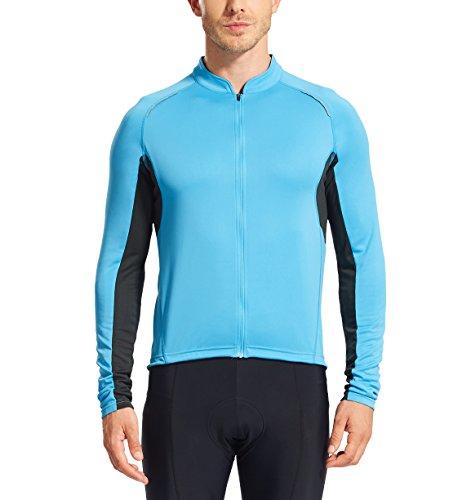 Baleaf Herren Rad Jersey Fahrrad Jacke Weste Radtrikot Jacket Langarm Full Zip Blau Größe XXL (Rad-weste Blaue)