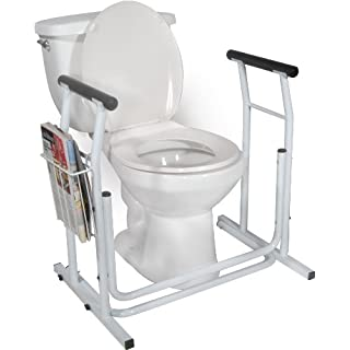 Drive DeVilbiss Free Standing Toilet Safety Frame 65cm high and 74cm Wide with Magazine Rack. Has Padded arm Rests Providing Additional Comfort and Support.