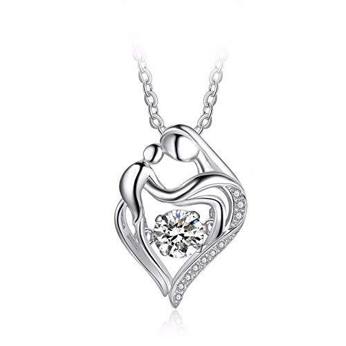 Z&J Halskette Mutter und Kind Anhänger Liebe Herzform Dancing Diamond 925 Sterling Silber Edler Schmuck Mutter Geburtstags Geschenke für Mama (Mamas Geburtstag Schmuck)