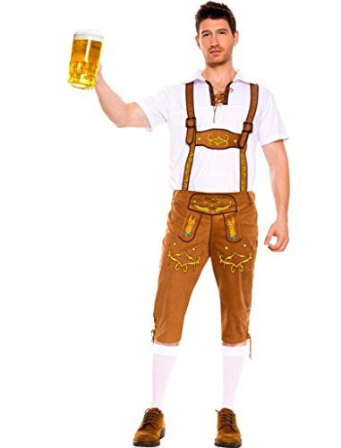 Männer Kostüm Bayerische - FairOnly Herren Kostüm Kurzarm Top + Gürteltasche Bayerische Uniform für das Oktoberfest Kaffeefarbe L