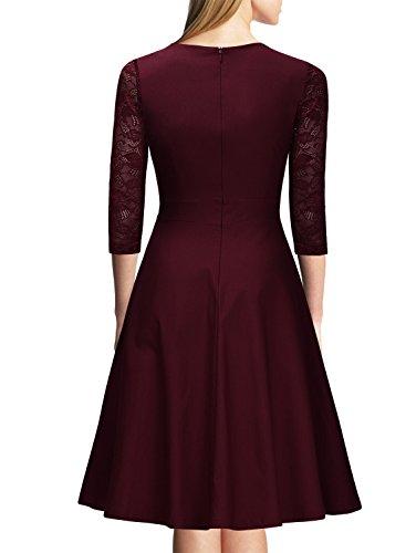 Miusol? Damen Abendkleid Elegant Cocktailkleid Vintage Kleider 3/4 Arm mit Spitzen Knielang Party Kleid Weinrot Gr.S - 2