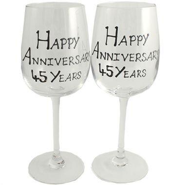 Froh 45. Jahr (Saphir) Jubiläum Wein Gläser Blk/Svr Blk-wein