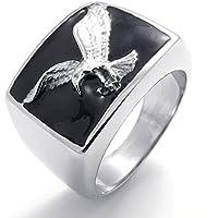 Beydodo Acciaio Inossidabile Anello (Anello Uomo) Nero Argentea Hawk Eagle Per Uomo