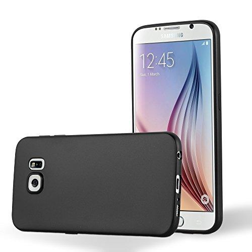 Preisvergleich Produktbild Cadorabo Hülle für Samsung Galaxy S6 - Hülle in METALLIC SCHWARZ – Handyhülle aus TPU Silikon im Matt Metallic Design - Silikonhülle Schutzhülle Ultra Slim Soft Back Cover Case Bumper