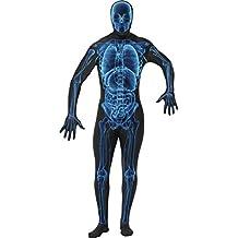 Röntgen Ganzkörperanzug blau schwarz M 48/50 Zweite Haut Kostüm Skelett Second Skin Faschingskostüme Karnevalskostüme Männer Herren