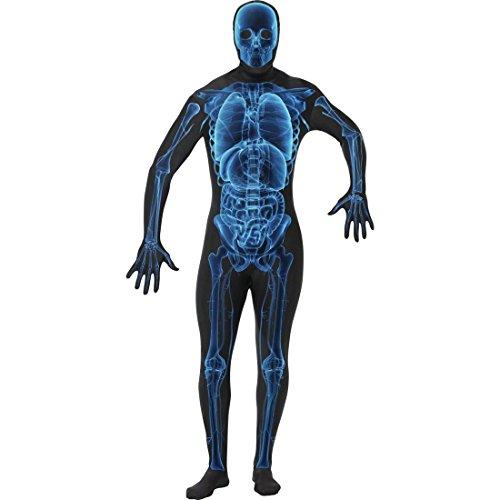 Röntgen Second Skin blau schwarz Ganzkörperanzug XL 56/58 Skelett Kostüm Zweite Haut Kostüm Faschingskostüme Karnevalskostüme Männer - Herren Blau Zweite Haut Für Erwachsene Kostüm