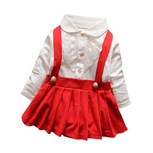 Idee Tutu Red Kostüm (Longra Baby Mädchen Herbst Kleidung mit Lace Langarm T-Shirt Prinzessin Mädchen Kleid Hochzeit Festkleid Partykleider(0-18Monate) (70CM 6Monate,)