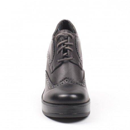 Ideal Shoes - Richelieu à talon épais Kaely Gris