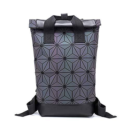 NKASDNK Leuchtende Lingge Reise Daypack Geometrische Reflektierende Rucksack Erweiterbar Große Kapazität Fashion School Rucksack -