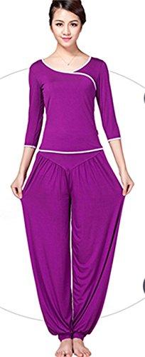 Demarkt Pantalon de Yoga Sarouels Pantalon Bouffant Elastique pour Femme Super Doux Modal Rouge