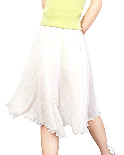 Minetom Damen Rocke Frauen Boho Plissee Retro Maxi Rock Elastisch Bund Tanz Kleid Party Chiffon Rock Weiß One size (Plissiert Vorne Minirock)