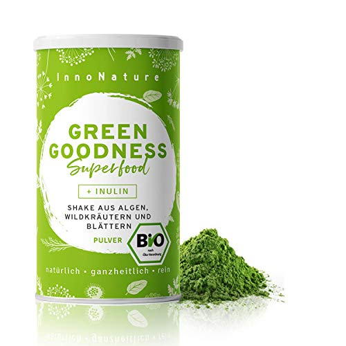 "Bio ""Green Goodness"" Superfood Shake mit 12 Superfoods (Weizengras + Gerstengras + Moringa + Chlorella + Spirulina + Kelp etc.) 300g Premium grünes Smoothie Pulver/Shake. Vegan + hergestellt in D"