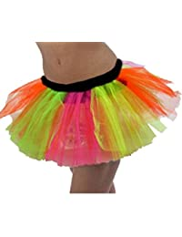 ANGIES FANCY DRESS NEON 3 Layer Tutu Skirt Rainbow Clown Pride for 80s Neon hen Nights Fun Runs Events