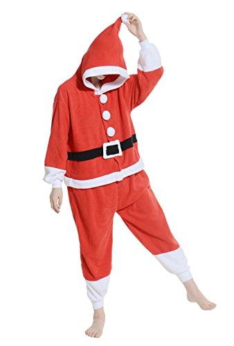 Weihnachtsmann Kostüm Pyjamas Jumpsuit Fasching Onesie Damen Herren Karneval Cosplay Nachtwäsche