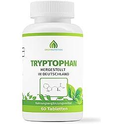 Green Nutrition - Tryptophan, 60 Tabletten á 500mg (vegan) | Umwandlung in Serotonin und Melatonin, bekannt als das Schlafhormon