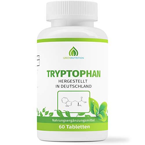 Green Nutrition - Tryptophan, 60 Tabletten á 500mg (vegan) | Umwandlung in Serotonin und Melatonin, bekannt als das Schlafhormon -