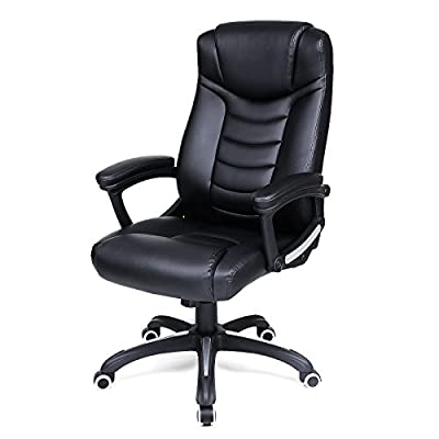 SONGMICS Office Chair with High Back and Tilt Function Executive Swivel Computer Desk Chair PU