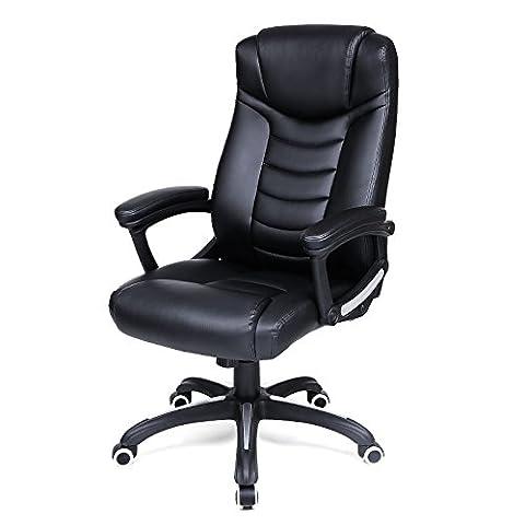 Songmics noir Chaise Fauteuil de bureau Chaise pour ordinateur hauteur réglable simili cuir OBG21B