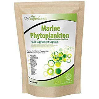 Marine Phytoplankton Capsules (180 Capsules X 500mg) | MySuperFoods | Purest Food on Earth | Cultivated from the Deep Sea | Rich in Micronutrients | Add to Juices, Smoothies, Shakes