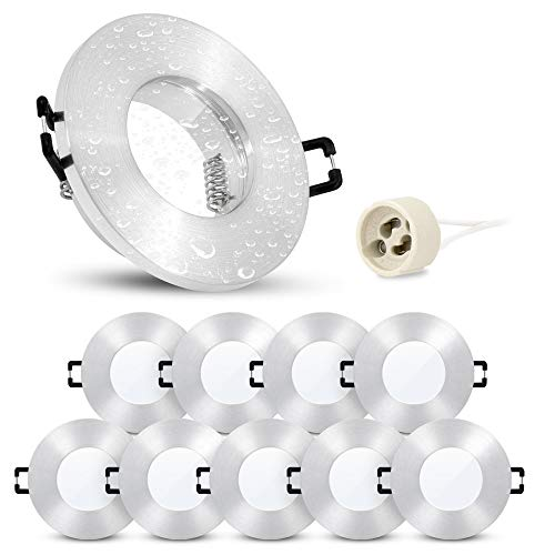 linovum 10 Stück Einbaurahmen ISASO mit IP65 Schutz inkl. GU10 Fassung - Einbaustrahler gebürstet Alu Rahmen für Bad & Außen -