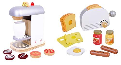 Kaffeemaschine und Toaster aus Holz Set Spielküche