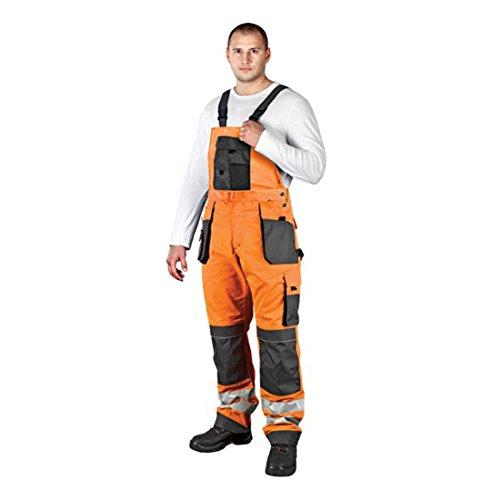 Arbeitslatzhose mit Reflektoren Warnschutzhose Warnschutzlatzhose Latzhose Warnschutz Arbeitshose Sicherheitshose 48 orange