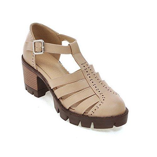 AllhqFashion Damen Rein Mittler Absatz Schließen Zehe Pu Leder Schnalle Sandalen Aprikosen Farbe