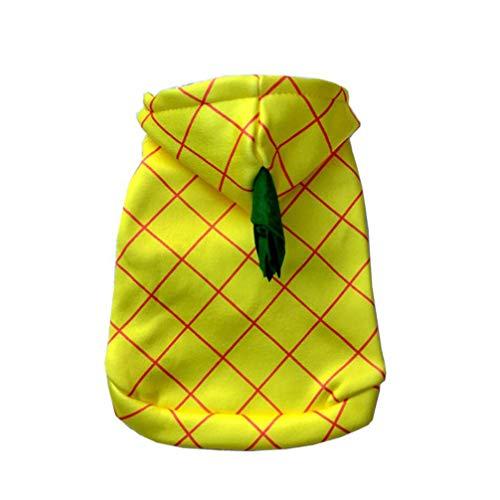 Kostüm Für Ananas Hunde - Balacoo Haustier Ananas Kostüm Hund Sommer T-Shirt mit Kappe Baumwollmantel Hund süßes Kostüm für Hund Katze