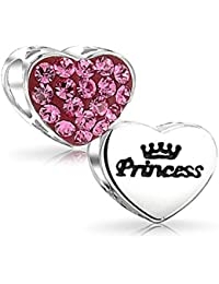 Bling Jewelry 925 Silver Pink Crystal Bead Charm coeur Princesse