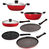 Nirlon Non-Stick Coated Dishwasher Safe 6 Piece Aluminium Kitchen Cooking Utencils Combo Offer Set With Steel Lid