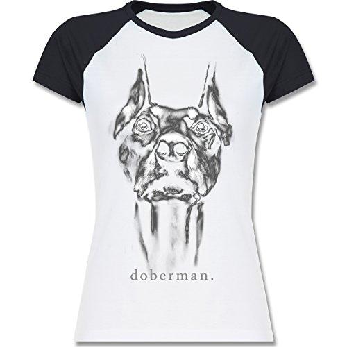 Shirtracer Hunde - Doberman - Zweifarbiges Baseballshirt/Raglan T-Shirt für  Damen Weiß/