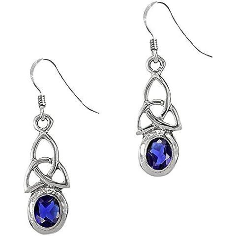 Con nodo celtico triscele, in argento Sterling, con orecchini con pietra portafortuna per il mese di settembre, con zaffiro)