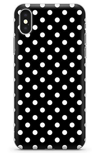 iPhone X/iPhone XS Negro Elegante Diseñador del Lunar Funda de Teléfono de Goma Cover Moda Linda Tendencias Chicas Estilo